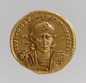 Working Title/Artist: Solidus of Constantius II (Sole Emperor, 353-361) Department: Medieval Art Culture/Period/Location: HB/TOA Date Code: 05 Working Date: 353-361 mma digital photo: DP100659 shot summer 2001
